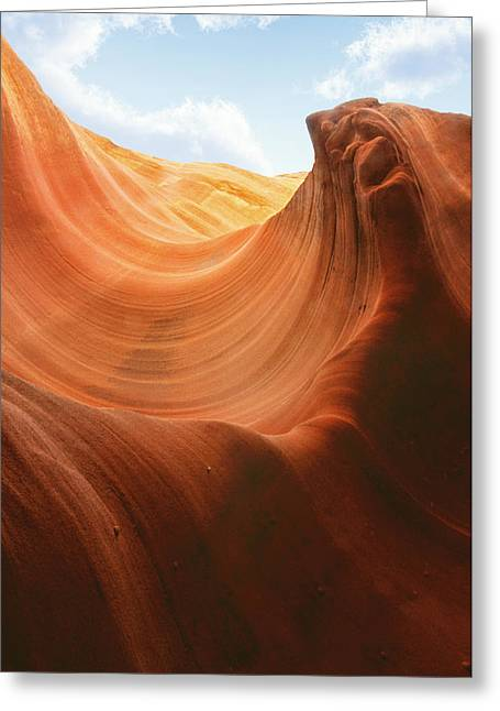 Underground Greeting Cards - Light at the End of the Tunnel - Antelope Canyon AZ Greeting Card by Christine Till