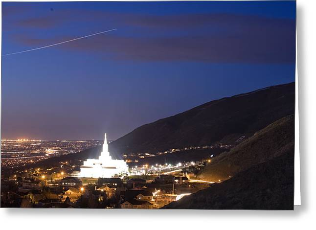 Light Bathes The Granite Structure Greeting Card by Jim Richardson