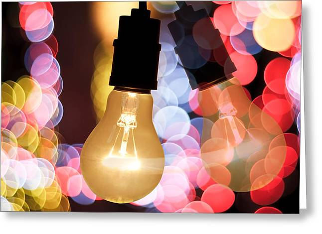 Blurs Greeting Cards - Light Bulb And Bokeh Greeting Card by Setsiri Silapasuwanchai