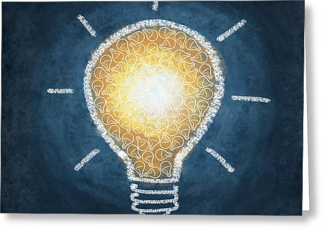 Handwriting Greeting Cards - Light Bulb Design Greeting Card by Setsiri Silapasuwanchai