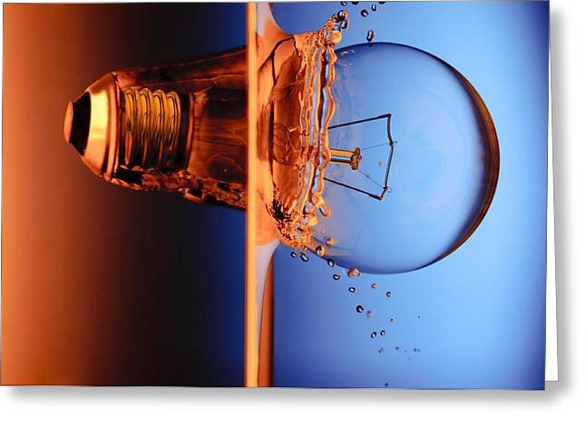 Flash Greeting Cards - Light Bulb Shot Into Water Greeting Card by Setsiri Silapasuwanchai