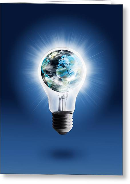 Cooperation Greeting Cards - Light Bulb With Globe Greeting Card by Setsiri Silapasuwanchai