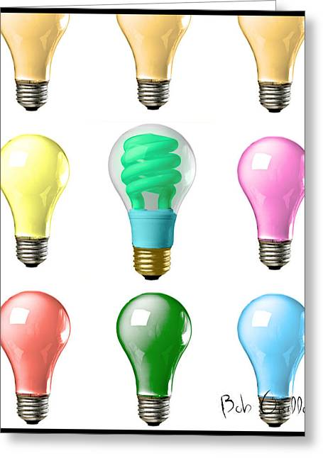 Electricity Greeting Cards - Light bulbs of a different color Greeting Card by Bob Orsillo