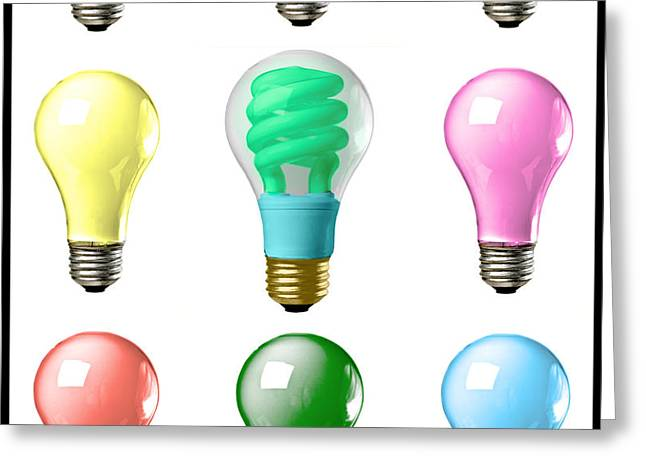 Light bulbs of a different color Greeting Card by Bob Orsillo