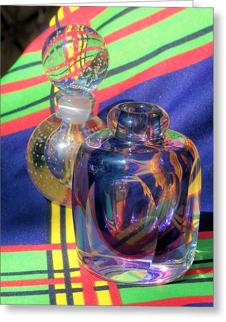 Glass Bottle Greeting Cards - Light Color thru Glass Series Greeting Card by B L Hickman