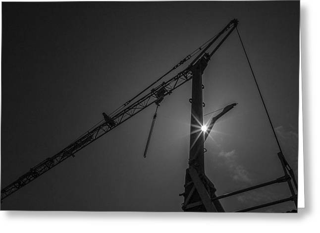 Building Crane Greeting Cards - Light Crane Greeting Card by Michael Avory