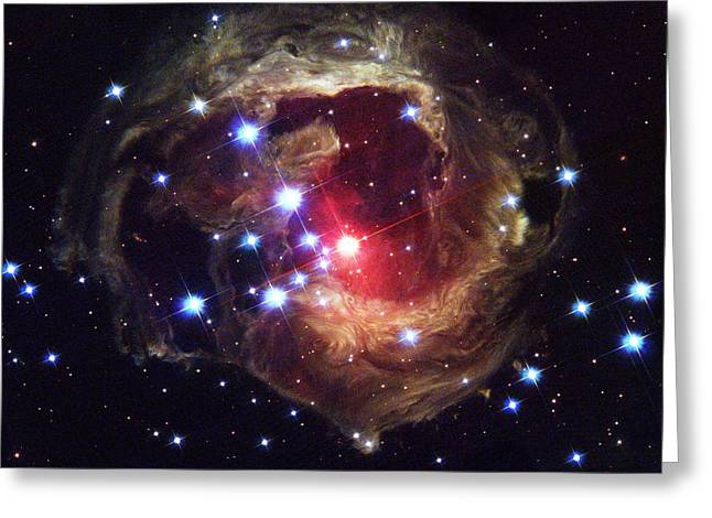 Monoceros Greeting Cards - Light Echoes Around V838 Monocerotis Greeting Card by NASA / ESA / Space Telescope Science Institute