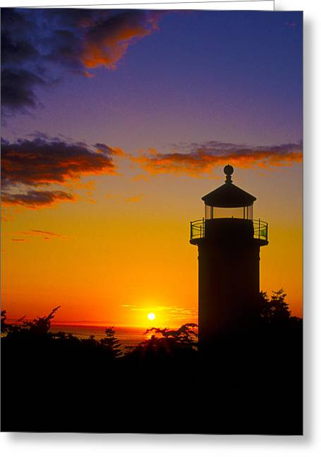 Lighthouse At Sunset Greeting Cards - Light House at Fort Casey Washington Greeting Card by Gary Langley