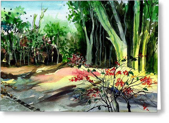 Anil Nene Greeting Cards - Light in the woods Greeting Card by Anil Nene
