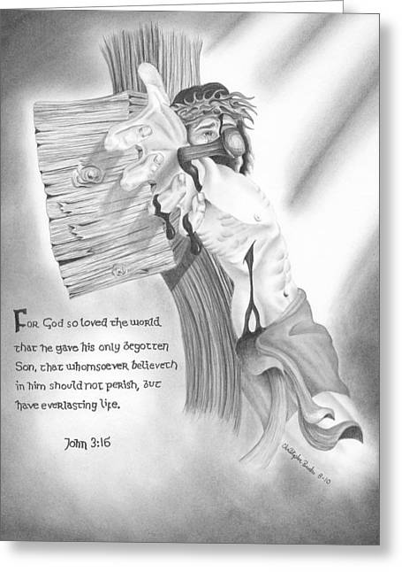 Crucifix Drawings Greeting Cards - Light of Salvation Greeting Card by Christopher Brooks