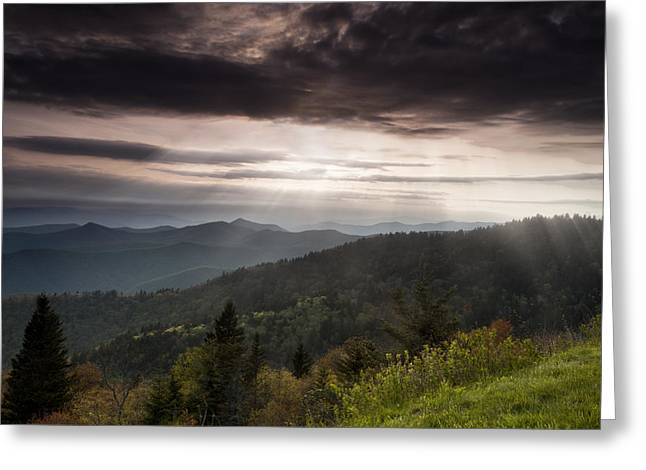 Colorful Photos Greeting Cards - Light on the Blue Ridge Greeting Card by Andrew Soundarajan