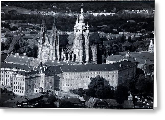 Prague Towers Greeting Cards - Light on the Cathedral Greeting Card by Joan Carroll