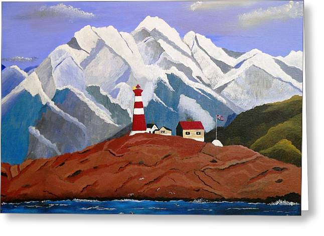 Norwegian Lighthouse Greeting Cards - Light On The Fjord Greeting Card by Scott Moore