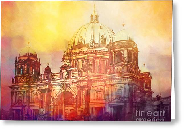 Berlin Mixed Media Greeting Cards - Light over Berlin Greeting Card by Lutz Baar
