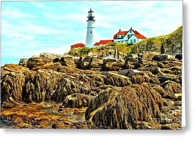 Maine Lighthouses Greeting Cards - Light Over The Rocks Greeting Card by Adam Jewell