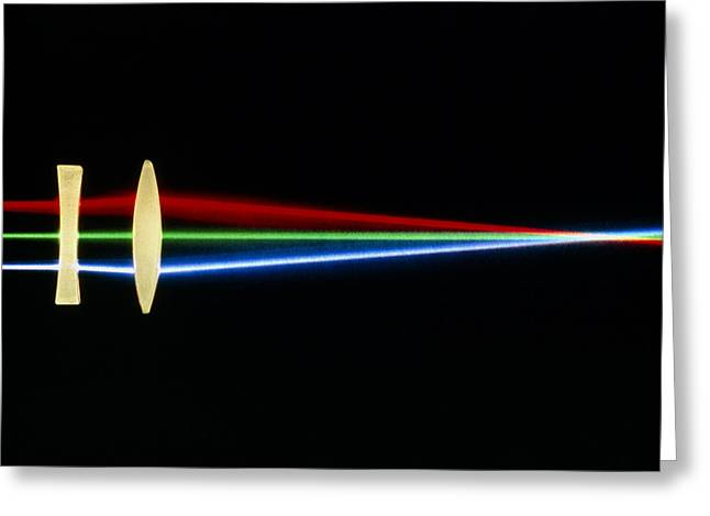 Convex Greeting Cards - Light Refraction By Lenses Greeting Card by David Parker