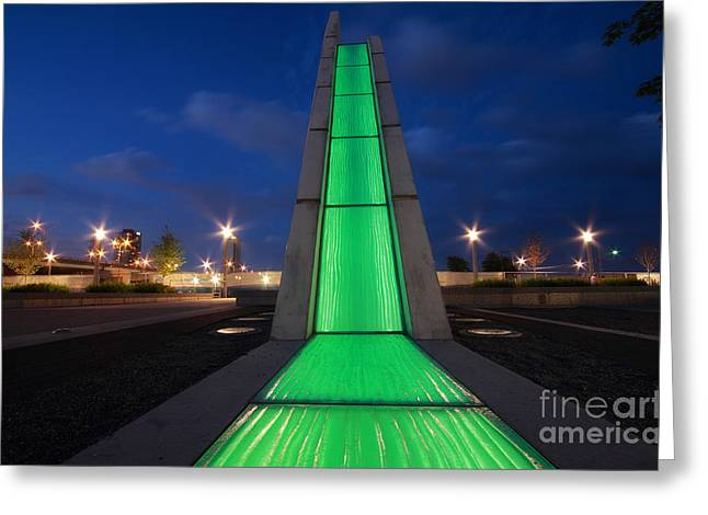 Bayfront Greeting Cards - Light Showers Green Greeting Card by Charline Xia