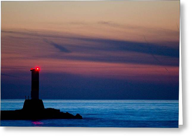 Fly Fishing Art Print Greeting Cards - Light Station in Manistee Greeting Card by Twenty Two North Photography
