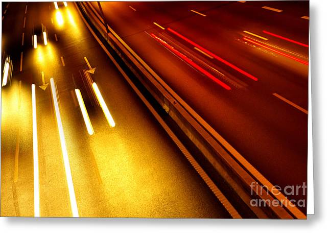 Headlight Greeting Cards - Light Trails Greeting Card by Carlos Caetano