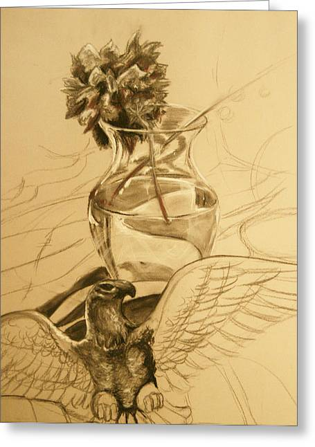 Glass Vase Drawings Greeting Cards - Light Vase Greeting Card by Morgan Banks