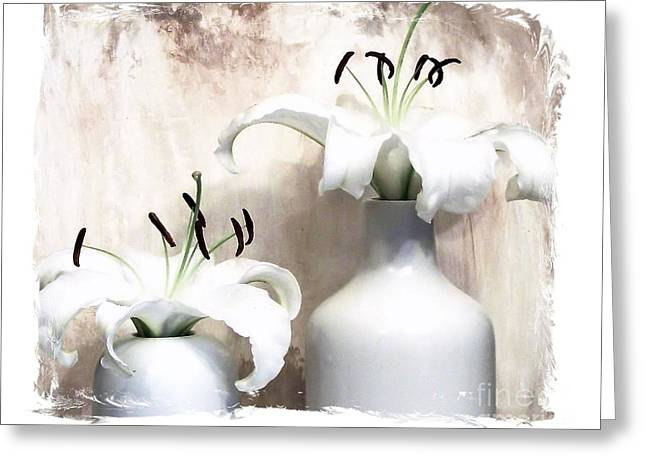 Both Greeting Cards - Light White Lilies Greeting Card by Marsha Heiken