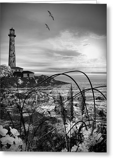 Ocean Black And White Prints Greeting Cards - Light Within Greeting Card by Lourry Legarde