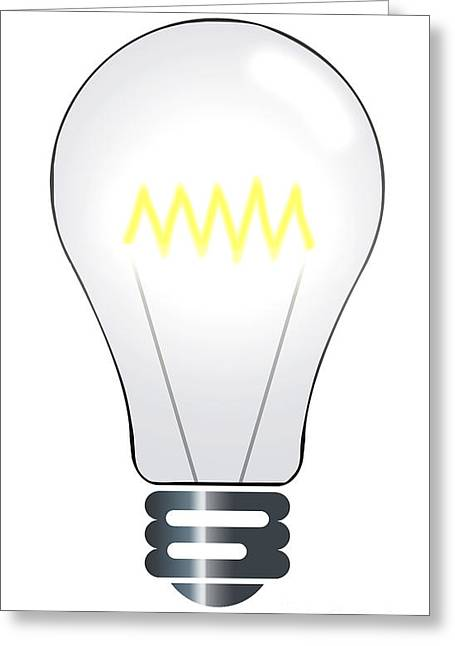 Cut-outs Digital Art Greeting Cards - Lightbulb illustration Greeting Card by Richard Thomas