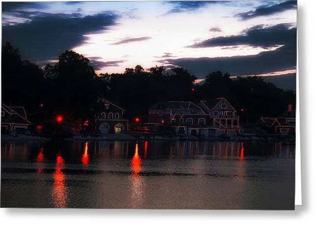 Rowing Crew Greeting Cards - Lighted Boathouse Row Greeting Card by Bill Cannon