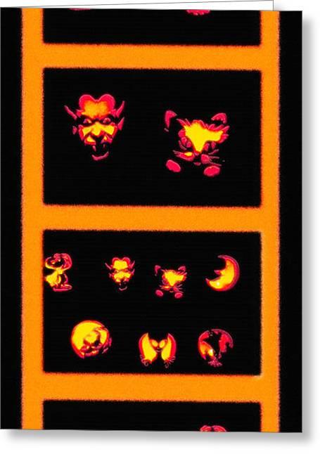 Lighted Jack-o-lanterns Tetraptych Greeting Card by Steve Ohlsen