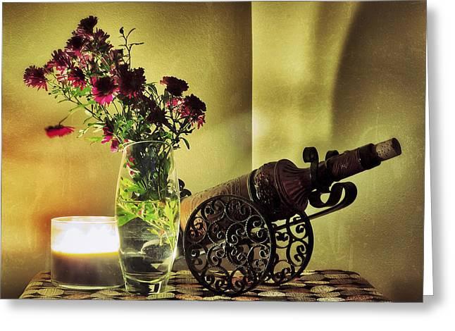 Wine Holder Photographs Greeting Cards - Lighted Petals Greeting Card by Scott  Wyatt