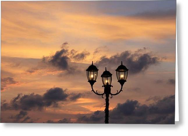 Lighted Sky Greeting Card by Michael Green