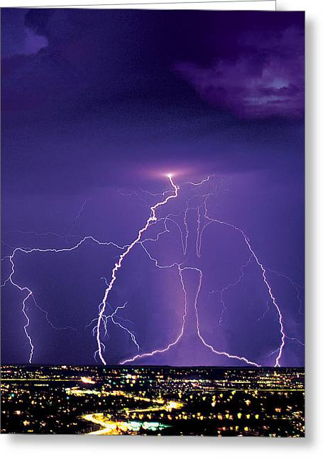 Lungs Greeting Cards - Lightening Greeting Card by Richard McGee