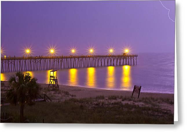 Lightening Strike At Kure Beach Greeting Card by Betsy Knapp