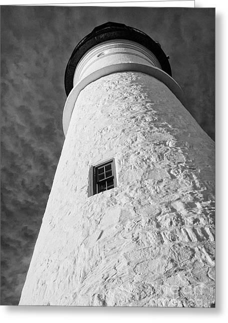 Coastal Maine Greeting Cards - Lighthouse - black and white Greeting Card by Hideaki Sakurai
