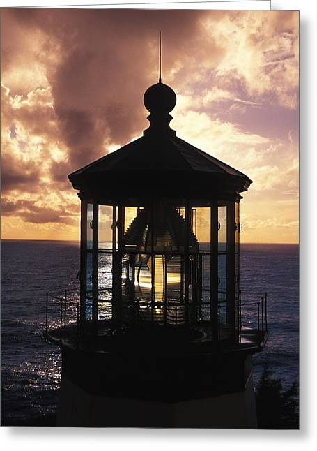 Oregon Lighthouse Image Greeting Cards - Lighthouse Against A Cloud-filled Sky Greeting Card by Paul Nicklen