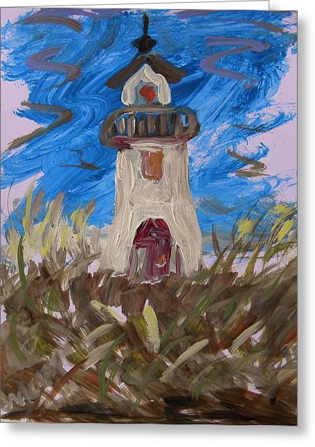 Work On Paper Drawings Greeting Cards - Lighthouse and Grasses Greeting Card by Mary Carol Williams