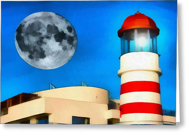 Sweating Paintings Greeting Cards - Lighthouse and Moon Greeting Card by Odon Czintos