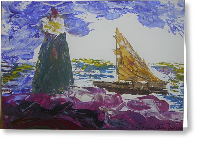 Sailboat Photos Paintings Greeting Cards - Lighthouse and Sailboat Greeting Card by Jayne Kerr