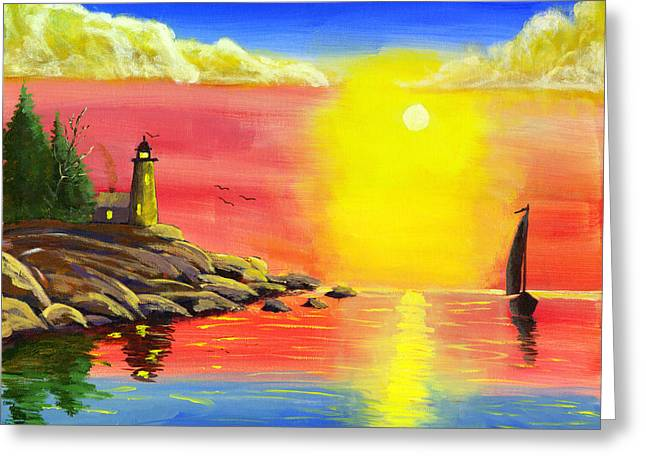Sailboat Art Greeting Cards - Lighthouse and Sailboat Painting At Sunset Greeting Card by Keith Webber Jr