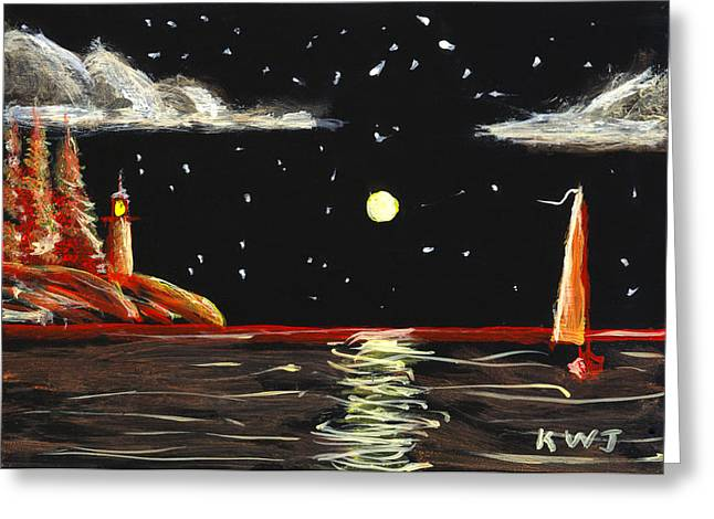 Sea Moon Full Moon Photographs Greeting Cards - Lighthouse and Sailboat Painting Full Moon Art Greeting Card by Keith Webber Jr
