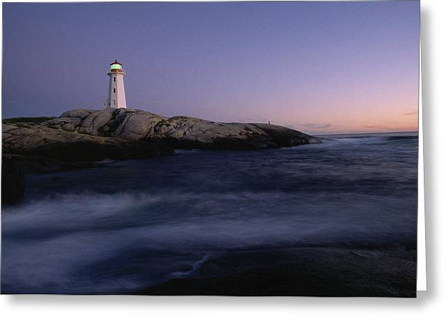 Nova Scotia Photographers Greeting Cards - Lighthouse And Shoreline, Peggys Cove Greeting Card by James P. Blair