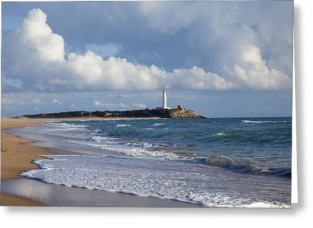 Trafalgar Greeting Cards - Lighthouse At Cape Trafalgar Zahora Greeting Card by Peter Zoeller