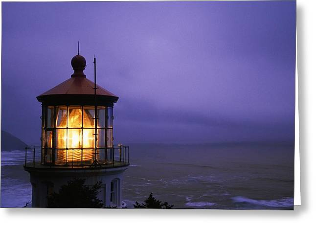 Fog At Sea Greeting Cards - Lighthouse At Heceta Head, Oregon, Usa Greeting Card by Natural Selection Craig Tuttle