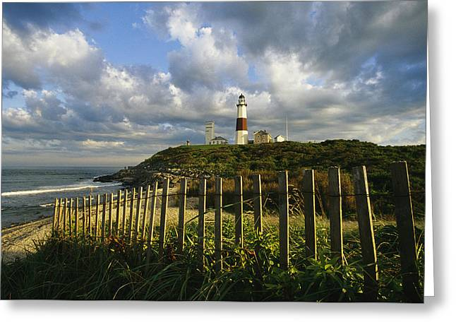 Best Sellers -  - York Beach Greeting Cards - Lighthouse At Montauk With Dramatic Sky Greeting Card by Skip Brown