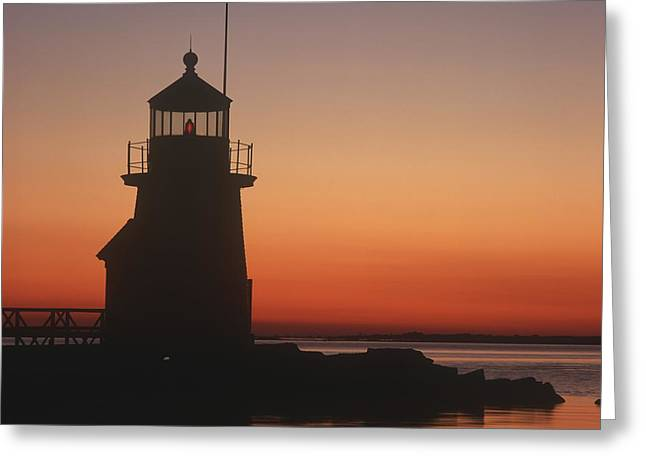 Lighthouse At Sunrise Greeting Card by Axiom Photographic