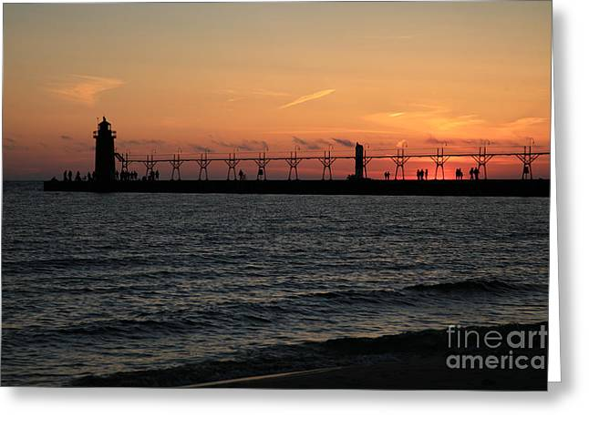 Lighthouse Sunset Greeting Cards - Lighthouse at Sunset Greeting Card by Timothy Johnson