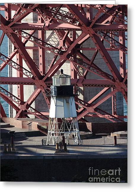 Vertigo Photographs Greeting Cards - Lighthouse Atop Fort Point Next To The San Francisco Golden Gate Bridge - 5D18999 Greeting Card by Wingsdomain Art and Photography