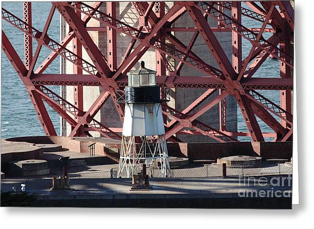 Lighthouse Atop Fort Point Next To The San Francisco Golden Gate Bridge - 5d19001 Greeting Card by Wingsdomain Art and Photography