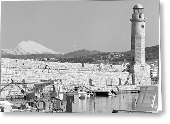 Snow Capped Greeting Cards - Lighthouse  harbour and mountain Greeting Card by Paul Cowan