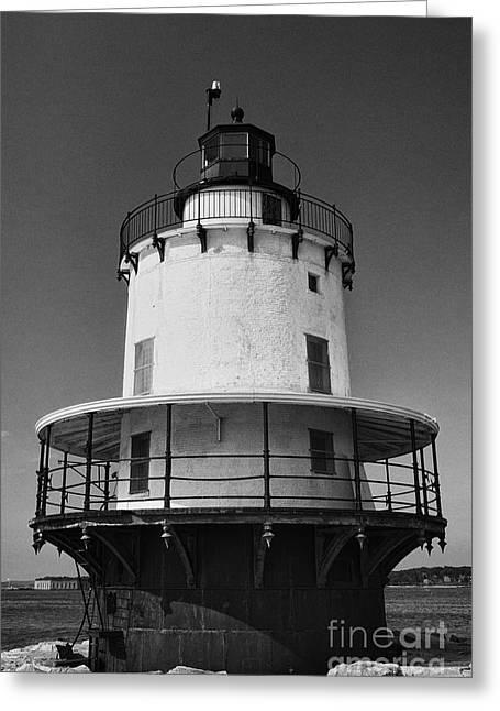 Maine Beach Greeting Cards - Lighthouse III - black and white Greeting Card by Hideaki Sakurai